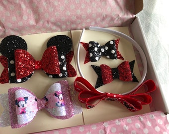 Minnie Mouse hairbow box set