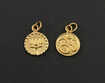 24K Gold Vermeil Over Sterling Silver Double Side OHM-Lotus Charm with Open Jump Ring, Sweet Jewelry Component Finding, (VM/CH2/CR50)