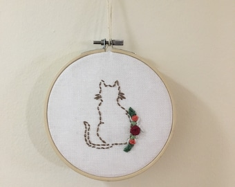 """Cat with flowers in 5"""" embroidery hoop"""