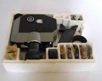 Soviet camera. Кварц-2×8С-3. QUARTZ 2x8S-3 Soviet S8 Movie Camera Meteor 8M-1 in a box. Movie camera.