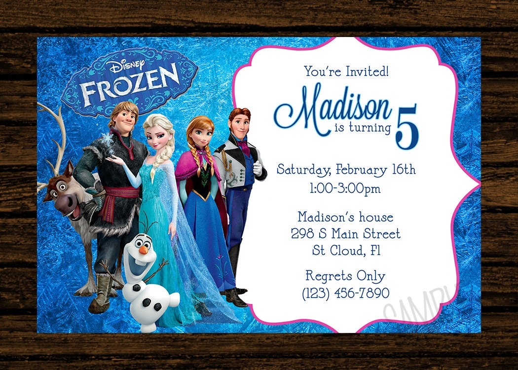 Custom frozen birthday party invitations diy printable file zoom stopboris Image collections