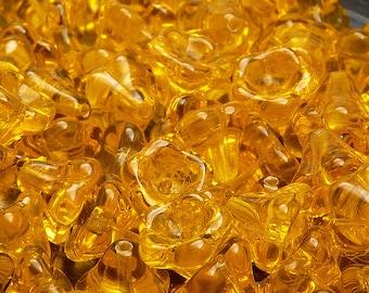 10pcs Czech Glass Pressed Bell Flower Beads 11x13 mm Amber