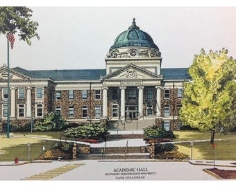 Southeast Missouri State University Academic Hall LIMITED EDITION Pen and Ink and Watercolor Art Print Illustration - Graduation Gift