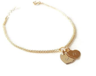 Gold Filled Two Hearts Bracelet - Personalized Sweetheart Bracelet - Personalized ID Bracelet - Bridal Shower Gift - Wedding