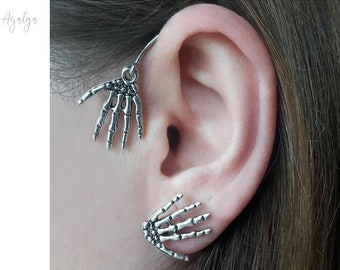 Skeleton ear cuff - zombie - goth ear cuff- statement jewelry- statement jewelry