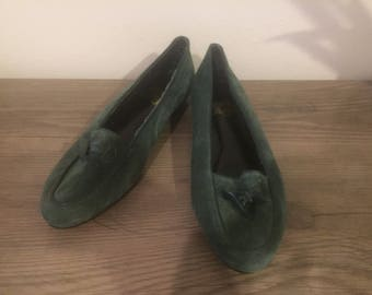 Vintage women's green suede loafers by Sport Steps size 7.5