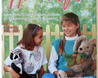 Country Handcrafts Magazine Spring 1994 - Easter Crafts - Easter Bunny Patterns - Easter Egg T-shirt - Crochet Baby Dress - Baby Afghan