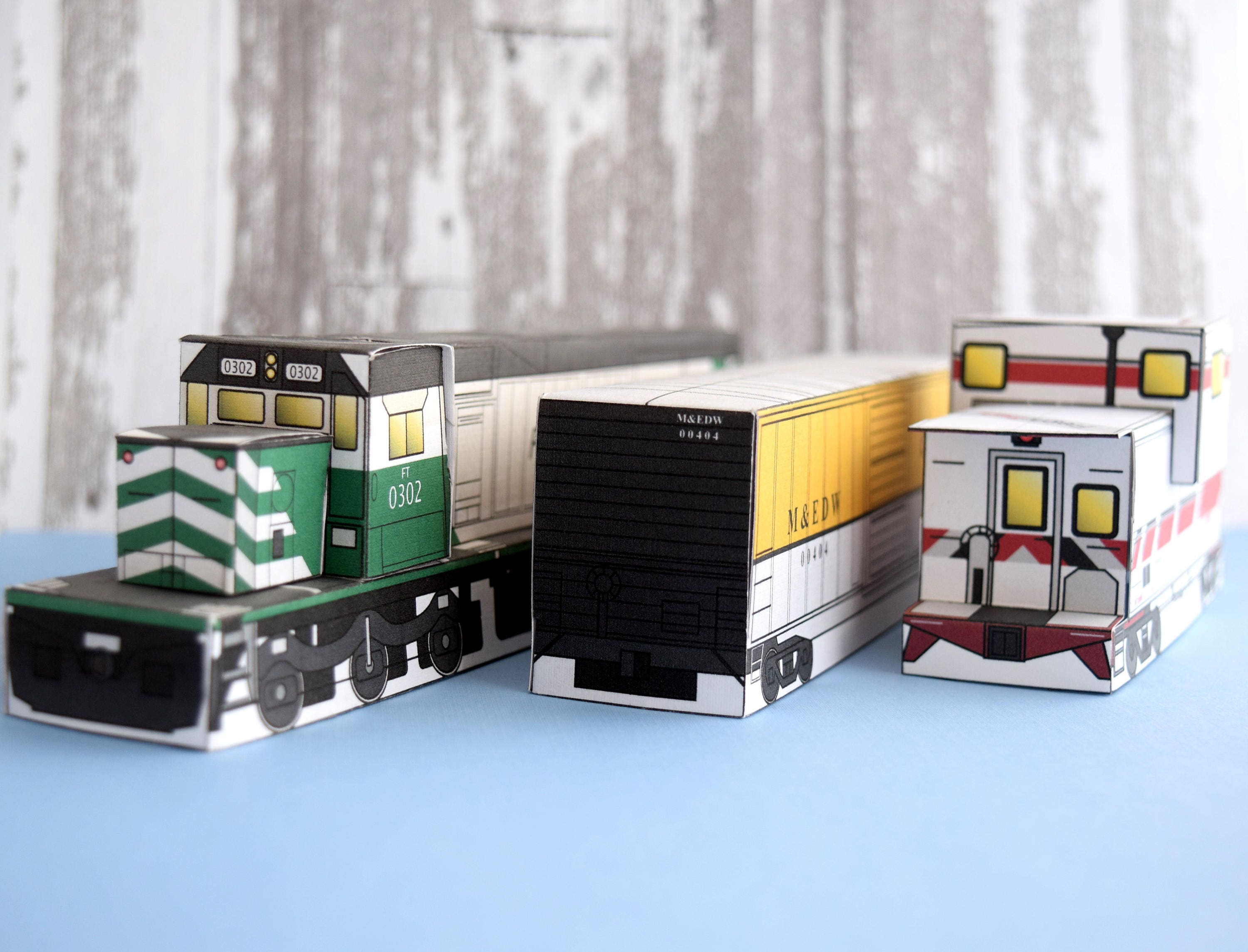 Freight Train Set Red Make Your Own Model Template