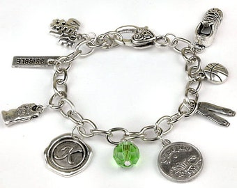 Personalized Basketball Bracelet with Your Initial, Zodiac and Birthstone