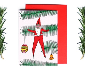 Christmas Cards - Pipe Cleaner Santa | Greeting Card | Holiday Card | Funny Christmas Card