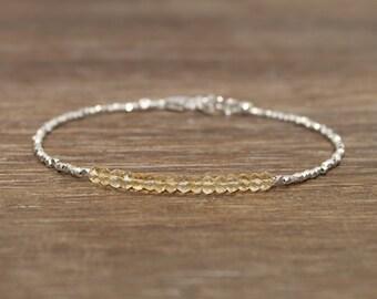 Citrine Bracelet, Hill Tribe Beads, Citrine Jewelry, Pure Silver, November Birthstone, Gemstone Bracelet