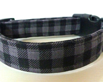 "FREE SHIPPING - Boy Dog Collar - Black & Grey Lumberjack Mini Buffalo Plaid Collar - ""Harley"" - Free Colored Buckles"