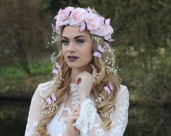 Pink butterfly flower crown, flower garland, Lana Del Ray, Wedding headpiece, nature inspired, vintage inspired, rustic rose, love.
