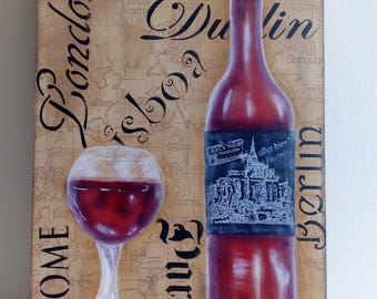 box in decorative painting, technical still life, wine, wine, hand painted