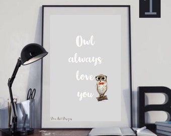 Owl Love You Forever - woodland creature art print Valentines Day gift. Home Decor