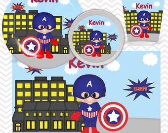 Captain America Plate, Bowl, Cup, Placemat - Personalized Super Hero Dinnerware for Kids - Custom Tableware