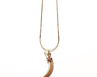 Gold Crescent Moon and Rhinestone Star Witchy Goddess Necklace