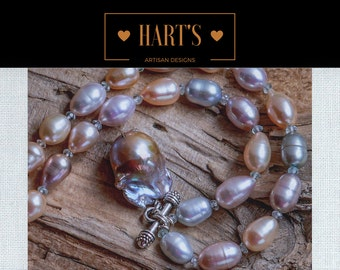Baroque Angel Wing Pearl, Aquamarine Gemstone, Cultured Pearl Artisan Necklace