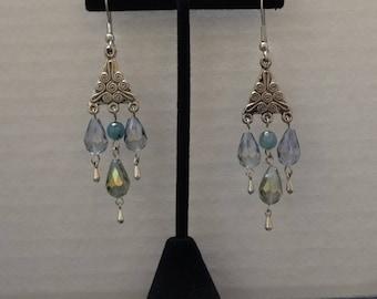 Iridescent Beaded Chandelier Earrings