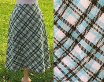Vintage Skirt | 1960s Plaid Skirt 26 Waist