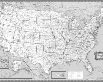 """USA Wall Map Classic Black & White Poster - 54""""x36"""" Rolled Paper 2017"""