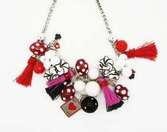 Chunky Whimsical Retro Necklace--Handmade Necklace--Vintage--Retro--Statement Necklace--Polka Dot--Red Fuschia--Tassels--Betty Boop Inspired