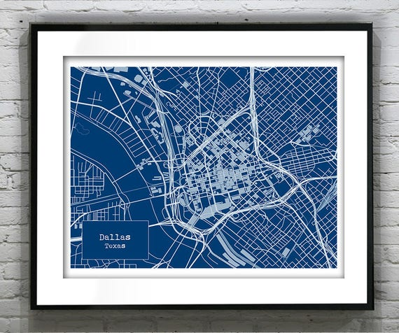 Dallas texas blueprint map poster art print several sizes malvernweather Image collections