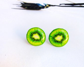 Kiwi Earrings / Kiwi studs / Food earrings / Fruit earrings / Kiwi jewellery / Kiwi jewelry / Gift for her