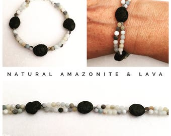 Natural Amazonite and Lava rock bracelet