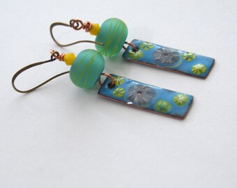 Floral Earrings, Mint Green Earrings, Sky Blue Earrings, Enamel Earrings, Lampwork Glass Earrings, Dangling Earrings, Striped Earrings