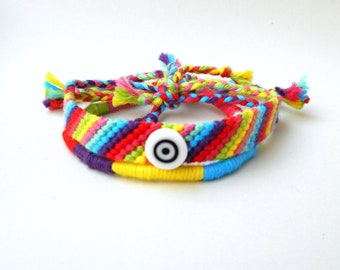 Friendship bracelet set, Matching bracelets, Rainbow bracelet, Color block bracelet, Pride bracelet, Surfer bracelet, Cotton yarn bracelet