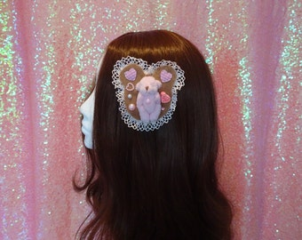 Kawaii Sweet Lolita Lace Love Bear Two Way Brooch & Hair Clip