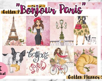 Bonjour Paris Sticker Full Kit, Planner Stickers for Erin Condren Vertical Planner
