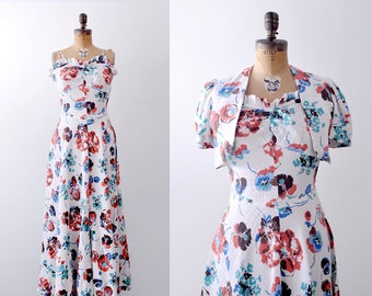 30's floral print dress. cotton. 1930 maxi dress. White, orange, blue watercolor print. S