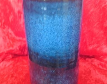 Zaalberg,  famous Dutch pottery,  beautiful blue crystalline glaze vase, unique and breathtaking colour,  cylindrical 21 cm high
