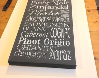 "Wine 12""x24"" wall canvas"