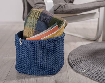 Blue jeans square basket/ crochet basket/ Knit basket/ Crochet storage basket/ Baby storage/ Nursery storage/ Scandinavian basket/toy basket