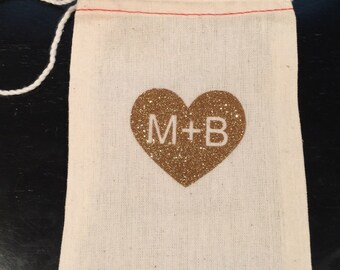 Personalized cotton muslin drawstring bags gold glitter heart - wedding, bridal shower, engagement, candy bar, loot bag, favor bag