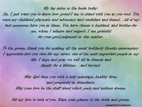 Toast To Bride From Brother Printable Download Best Man Print Of The Speech Sister Wedding Blessing