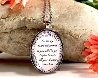 I Cross My Heart- Country Music Lyrics- George Strait Song-Large Oval- Glass Bubble Pendant Necklace