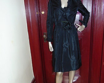 VINTAGE Black Silk Rose Dress