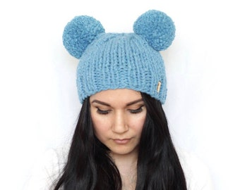 Mouse ears hat, pompom beanie, double pompom beanie, two pompom hat, mickey hat, knitted beanie, winter hat