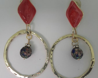 Hot Pink and Pink Blue Cloisonne Ball Gold Plated Vintage Pierced Earrings