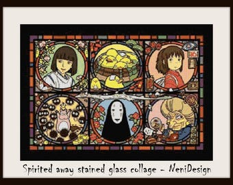 Spirited away stained glass collage, cross stitch pattern, cross stitch anime, anime pattern, Spirited away, cross stitch, PDF pattern