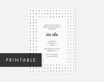 Modern DIY Invite / Minimalist Invitation Printable / Dotted Pattern / Black and White / Bridal Shower, Baby Shower, Engagement Party