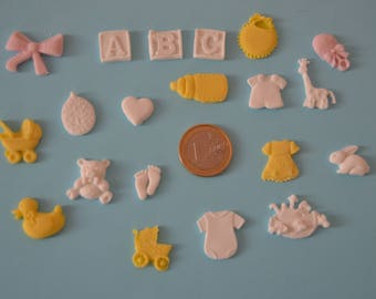 Mixed baby collection fondant toppers for cupcakes, cakes and cookies.