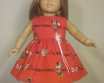 18 inch Doll Clothes Red Bowtiful Minnie Mouse Print Dress fits American Girl Doll Clothes Handmade