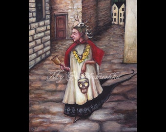 The Bellman of the Dead Original Painting, Fairy Tale Art, Folk Tale Art, French History, Plague, Bring Out Your Dead, Medieval Themed Art,