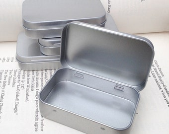 Rectangular Metal Tins, Blank Hinged Tins, Color Silver 50ml Tin Box, Business Card Size (A Set Of 12 Tins)