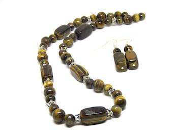 Necklace and Earrings Set, Tiger's Eye, Women, Teen, Ready To Ship,,